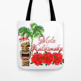 Santa Tiki Mele Kalikimaka Tote Bag