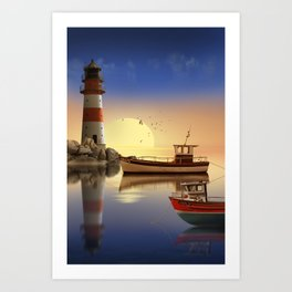 Morning at the lighthouse Art Print