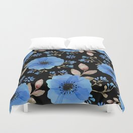 Blue flowers with black Duvet Cover