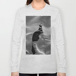 Minimalist Abstract Modern Ripple Lines Projected Woman Sensual Cool Feminine Black and White Photo Long Sleeve T-shirt