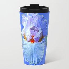 BLUISH-WHITE PASTEL IRIS FLOWER BOTANICAL ART Travel Mug