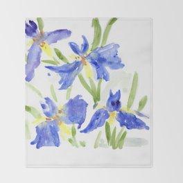 Blue Iris Throw Blanket