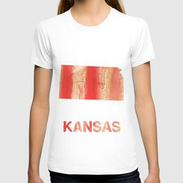 Kansas map outline Burnt sienna watercolor T-shirt