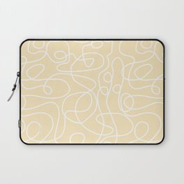Doodle Line Art | White Lines on Soft Yellow Laptop Sleeve
