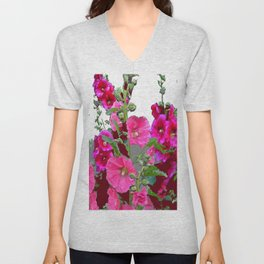 PINK- PURPLE COTTAGE  HOLLYHOCKS WHITE & GREY GARDEN Unisex V-Neck