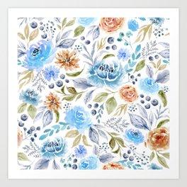 Watercolor Floral Garden Art Print
