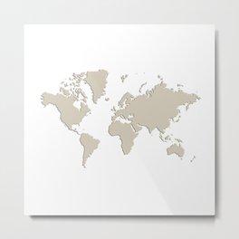 World with no Borders - khaki Metal Print