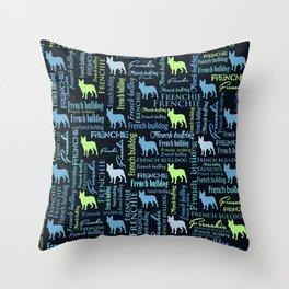 French Bulldog - Frienchie Word Art Throw Pillow