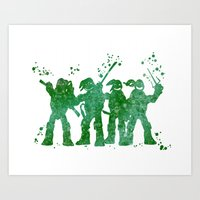 teenage mutant ninja turtles Art Prints featuring Teenage Mutant Ninja Turtles by Carma Zoe