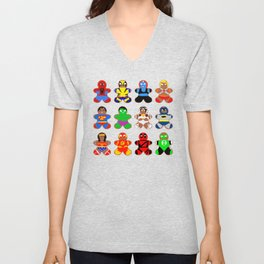 Superhero Gingerbread Man Unisex V-Neck