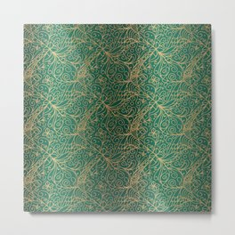 Gold and Green Tangle Pattern Metal Print