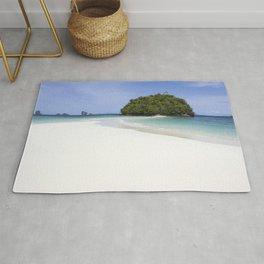 Deserted Island with white beach Rug