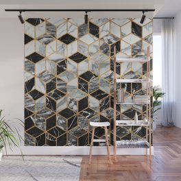 Marble Cubes - Black and White Wall Mural