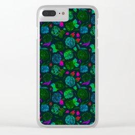 Watercolor Floral Garden in Electric Black Velvet Clear iPhone Case