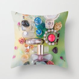 Perfume & jewelry flat lay on water colored background Throw Pillow