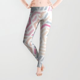 Pastel Deco Hexagon Pattern - Gold, pink & grey #pastelvibes #pattern #deco Leggings