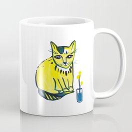 Yellow Cat with Craspedia Coffee Mug