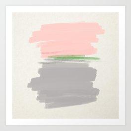 grey + pink + green Art Print