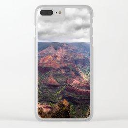 Waimea canyon with a stormy sky Clear iPhone Case