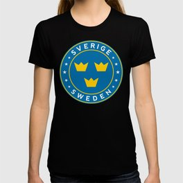Sweden, Sverige, 3 crowns, circle T-shirt