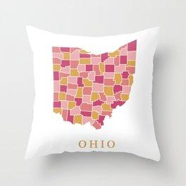 Ohio map Throw Pillow