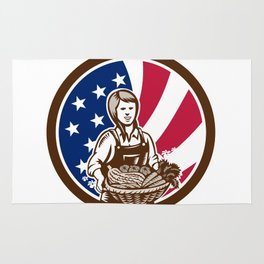 American Female Organic Farmer USA Flag Icon Rug