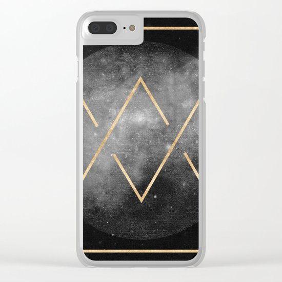 Gold Moon Geometric Tribal Design Clear iPhone Case