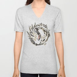 Wildcat Roar - Mountain Lion - Taupe Gray Unisex V-Neck