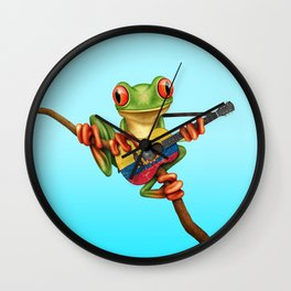 Tree Frog Playing Acoustic Guitar with Flag of Ecuador Wall Clock