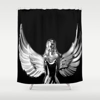 angel wings Shower Curtains featuring Angel Wings by Shaunia McKenzie