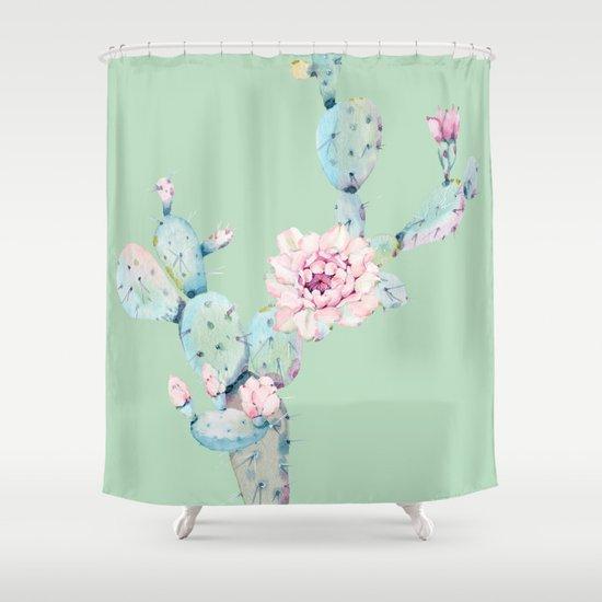 Rose Desert Cactus Mint Green + Pink Shower Curtain