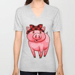 Buffalo Plaid Caro Pig Piglet Piggly Unisex V-Neck