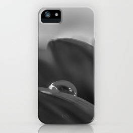 Alone is a black and white photograph water drop on flower iPhone Case