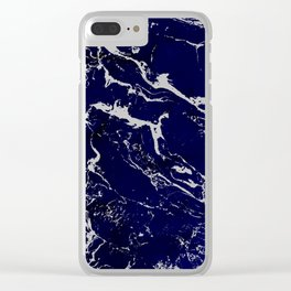 Modern Navy blue watercolor marble pattern Clear iPhone Case