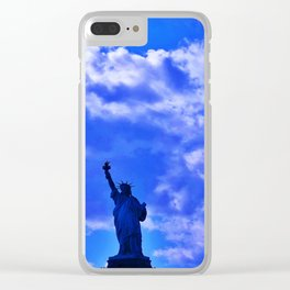 Blue Statue of Liberty Clear iPhone Case