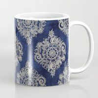 white Mugs featuring Cream Floral Moroccan Pattern on Deep Indigo Ink by micklyn