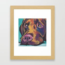 Fun Chocolate Lab Dog bright colorful Pop Art Labrador Framed Art Print