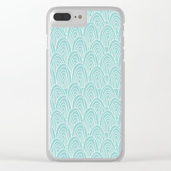 Blue Scribbles Pattern 09 Clear iPhone Case