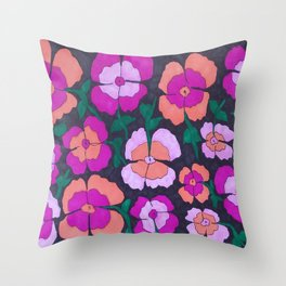 Summery Floral Garden Print Throw Pillow