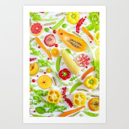 Fruits and vegetables pattern (12) Art Print