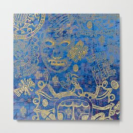 Mexican gold on blue Metal Print