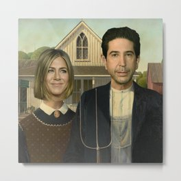 Ross & Rachel in American Gothic (Friends)  Metal Print