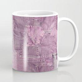 Pastel Pink Jeans Pattern Patchwork Design Coffee Mug