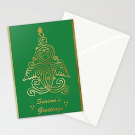 Green Folk Christmas Tree Stationery Cards