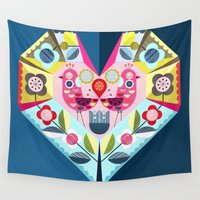 folk Wall Tapestries featuring folk heart by ELLEN GIGGENBACH