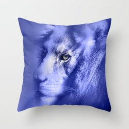 Fantasy Lion of Legend in Blue-Lilac Throw Pillow