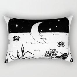 Moon River Marsh Illustration Rectangular Pillow