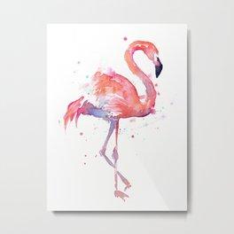 Pink Flamingo Watercolor Tropical Animals Bird Metal Print