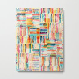 Summer Pastel Geometric and Striped Abstract on cream Metal Print