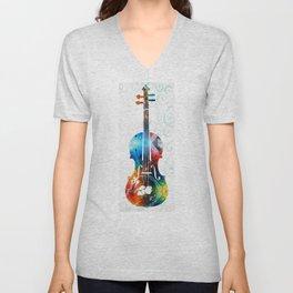 Colorful Violin Art by Sharon Cummings Unisex V-Neck
